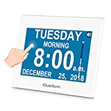 "iGuerburn Talking Day Clock for Dementia, Alzheimer's, Seniors, Blinds, Elderly, Visually Impaired, Low Vision with 8"" Touchscreen / Audible Digital Calendar Date and Time Settings 