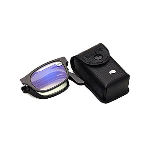 EA-STONE Foldable Unisex Reading Glasses Presbyopic Eyeglasses Full Frame with Mini Flip Top Carrying Case for Men and Women - Modern Men For Eyeglasses