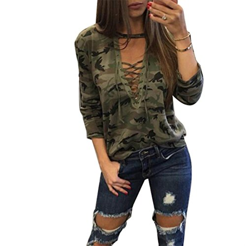 (4PING Women's Long Sleeve Camouflage Print T-Shirts Tops Green L )
