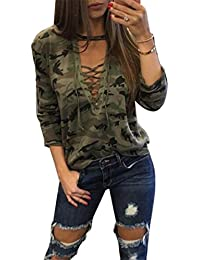 Women's Long Sleeve Camouflage Print T-Shirts Tops