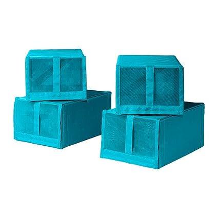 IKEA SKUBB - caja de zapatos, turquesa / 4 Pack - 22x34x16 cm