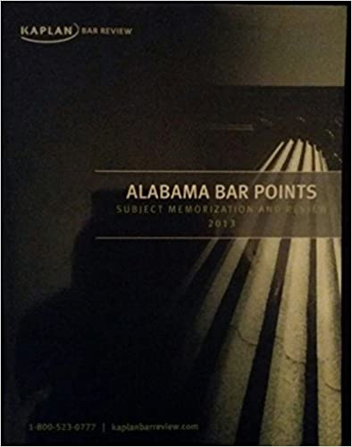 Book Kaplan Alabama Bar Points Subject Memorization and Review 2013