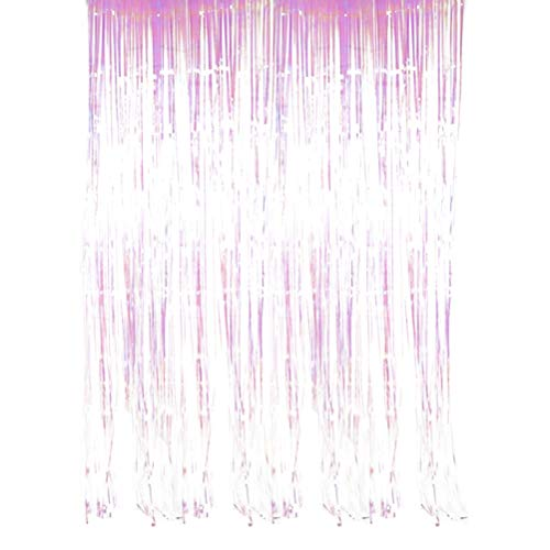 BESTOYARD Foil Curtains Metallic Fringe Curtains Shimmer Curtain for Birthday Wedding Party Christmas Decorations (Colorful) - 1x2M ()