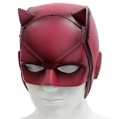 XCOSER DD Matt Mask Helmet Props for Adult Halloween Costume PVC Red - Daredevil Costumes