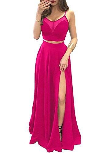 alilith.Z Sexy Spaghetti Strap Prom Dresses 2 Piece Long Ruffles Chiffon Bridesmaid Dresses for Women Hot Pink (Hot Pink Bridesmaid)