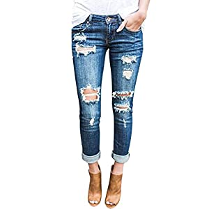 Burvogue Women Stretch Ripped Distressed Skinny Jeans Denim Pants