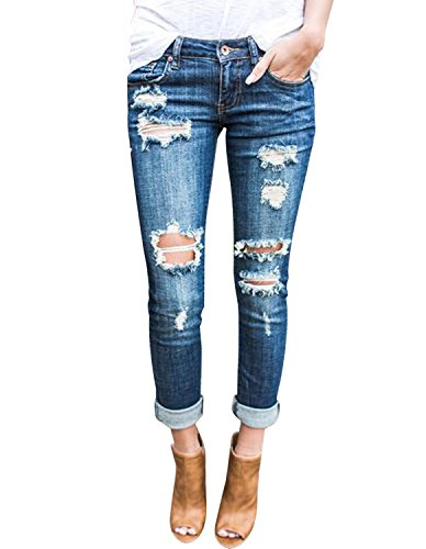 Burvogue Women Stretch Ripped Distressed Skinny Jeans Denim Pants (XL, Blue3)