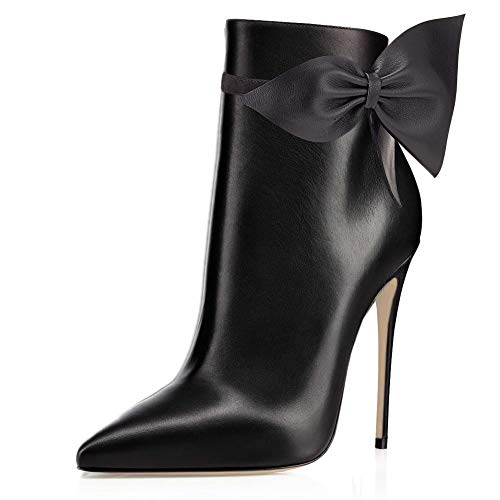 Ankle pu Closed Stilettos Women's Toe Pointed Black Booties Autumn VOCOSI Boots Bowknot Dress With 54qBxWwPpP