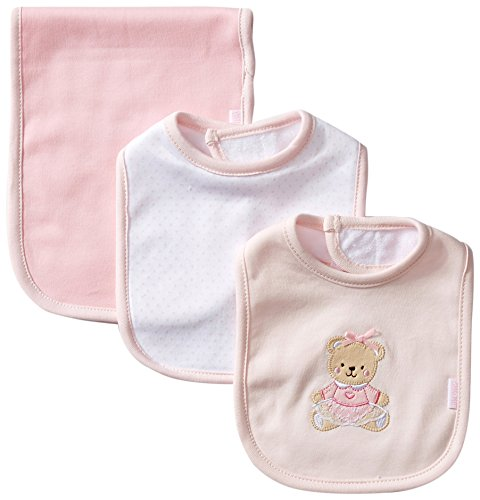 Little Me Baby Girls' 3 Piece Bib and Burp Set, Bear, Pink/Multi, One Size