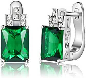 J.MOSUYA Topaz Ruby Emerald Earring for Women 925 Sterling Silver Plated Clip-Ons Jewelry
