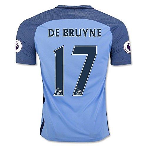 City Soccer Jersey (DE BRUYNE 17 Manchester City 16/17 Soccer Jersey Men's Home Color Blue Size)