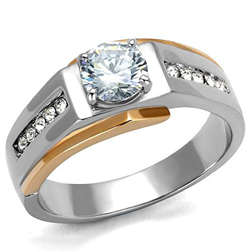 Marimor Jewelry Men's 1.33 CT Round Cut Cubic Zirconia Two Toned Stainless Steel Ring Size 10