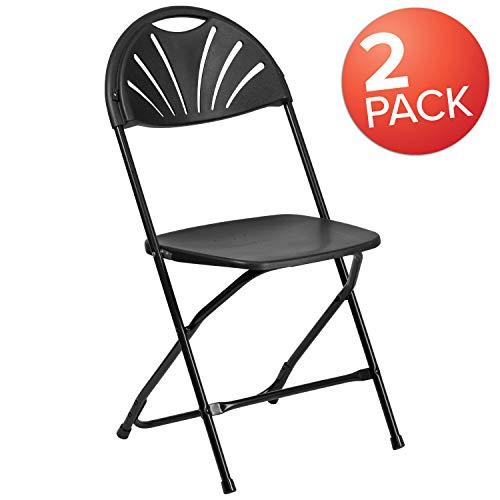 Flash Furniture 2 Pk. HERCULES Series 650 lb. Capacity Black Plastic Fan Back Folding ()