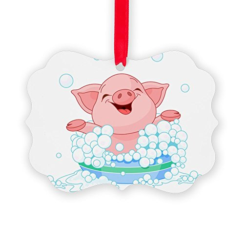 CafePress - Picture Ornament - Cute Piglet Taking A Bath - Christmas Ornament, Decorative Tree Ornament Christmas Vector Clipart