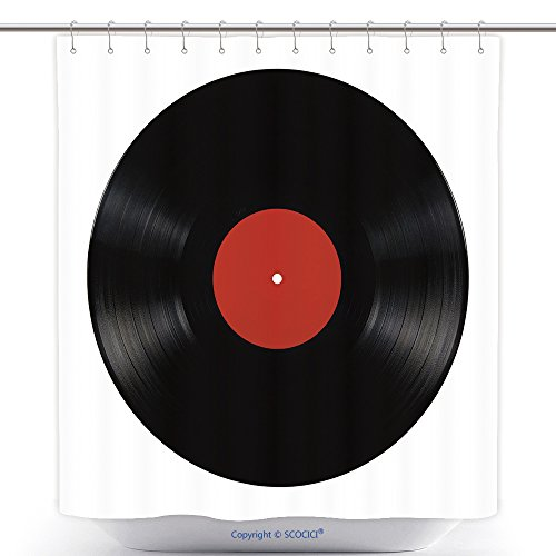 Waterproof Shower Curtains Black Vinyl Lp Album Disc; Isolated Long Play Disk With Blank Label In Red_9584294 Polyester Bathroom Shower Curtain Set With Hooks