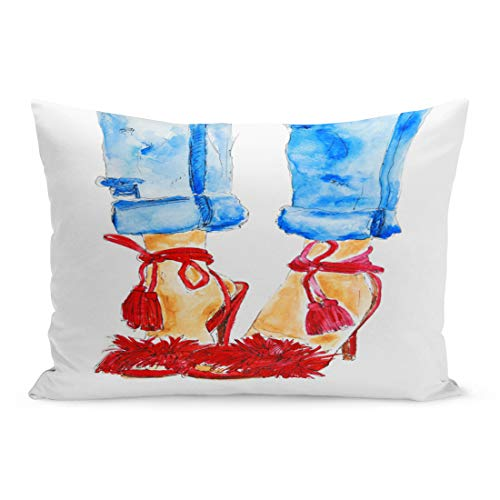 (Semtomn Throw Pillow Covers Street Red Shoes and Blue Jeans on Woman Legs Sexy Girl Watercolor Sketch Raster Drawing Denim Pillow Case Cushion Cover Lumbar Pillowcase for Couch Sofa 20 x 36 inchs)