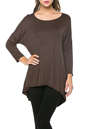 A.S Womens Rayon Jersey 3/4 Sleeve High low Tunic Top (Large, Brown)