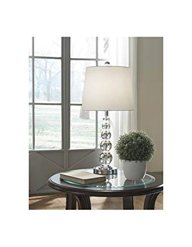 (Ashley Furniture Signature Design - Joaquin Crystal Table Lamps with Drum Shade - Set of 2 - Contemporary - Clear/Chrome Finish)