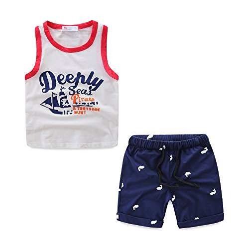 Mud Kingdom Little Boy Tank Top Set Size 5 Summer Holiday Pirate Boat]()
