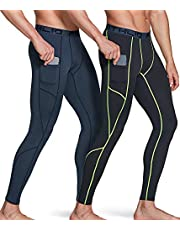 ATHLIO Men's (Pack of 1, 2) Cool Dry Compression Pants Active Sports Baselayer