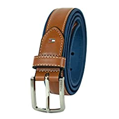 Leather belt with fabric edge detail. Silver buckle and single belt loop.