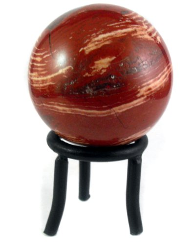 (Universal Energy Sphere with Black Iron Stand (Red Snakeskin Jasper Crystal Ball))