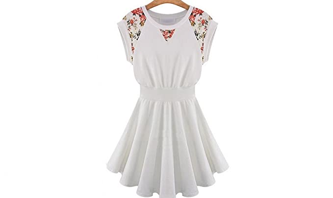 6e723285e730 Silk Lace Floral Casual Dress Princess Sweet Collect Waist White at ...