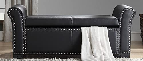 Best ottoman chair: Inspired Home Noah PU Leather Modern Contemporary Nail Head Trim Storage Ottoman Bench