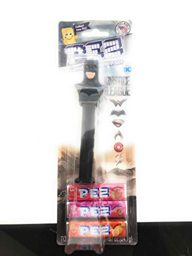 (Justice League BATMAN PEZ Dispenser with 3 Pack Candy Refill on Blister)