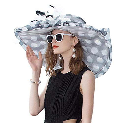 (FADVES 100% Organza Hats Kentucky Derby Large Wide Brim Flower Fedoras Polka Dot Wedding Hat (Black and White Polka Dot))
