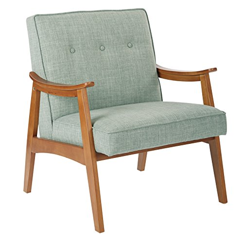 Midcentury Charlene Button Back Spice Finished Frame Accent Chair (Mint)