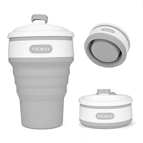 VICBAY Silicone Collapsible Coffee Cup, Foldable Travel Coffee Mug Portable Water Cup with Lid for Outdoor Camping Hiking Picnic, Food-Grade Silicone BPA Free, Leak-proof Lid Design, Gray