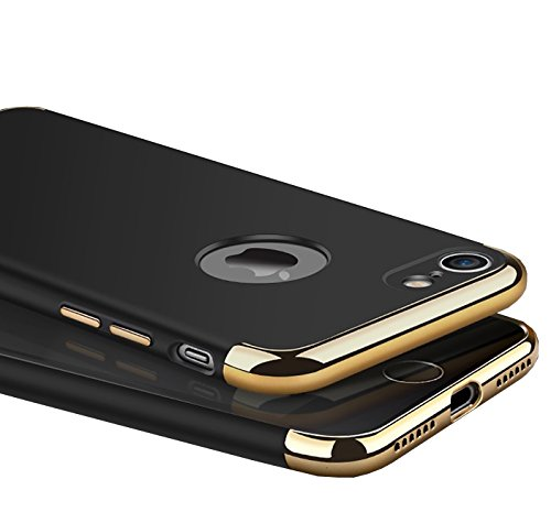iPaky Chrome 3 Piece Hybrid Protective Back Case Cover for Apple iPhone 7   Black