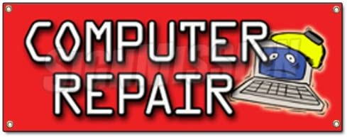 Amazon Com Computer Repair Banner Sign Monitor Screem Mouse Keyboard Network Fix Design Office Products