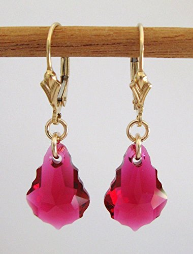 - Ruby Baroque Earrings made with Swarovski Crystal - Gold Filled Lever-Backs