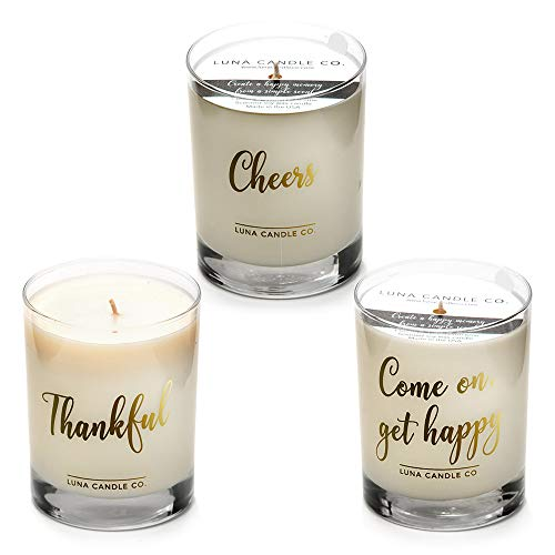 LUNA CANDLE CO.. , Merci Beaucoup - Peach Bellini, Apple Cinnamon and Vanilla Scented Luxurious Candles - 11 Oz (3 Candle Set) for Graduation, Birthday, Anniversary and Party Favors