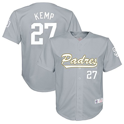 Outerstuff Matt Kemp MLB San Diego Padres Grey Button Down Player Jersey Youth (XS-2XL)