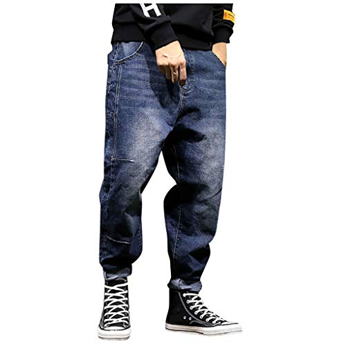 Mwzzpenpenpen Men's Leisure Loose Stretch Harlan Beamed Jeans Straight Cargo Trousers Classic Lightweight Streetwear