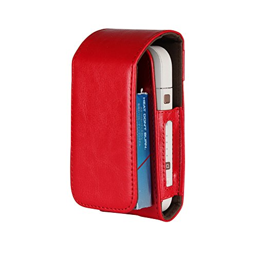 iQOS Electronic Cigarette Protective Holder Cigar Cover iQOS Wallet Case Electronic Cigarette PU Leather Carrying Case Box (Red) (Menthol Electronic Cigarette)