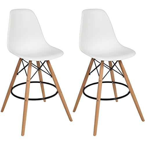 Best Choice Products Eames Style Set Of 2 High Chair Bar Stools - Mid Century Modern High Chair