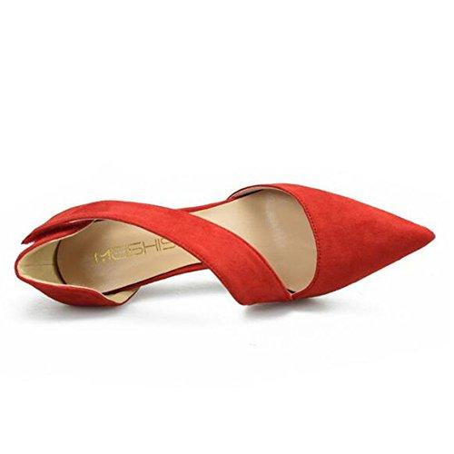 Bridesmaid Heels High Suede Red Prom Elegant Women's XIUWU Sandles Pumps qEw4RpIWZ