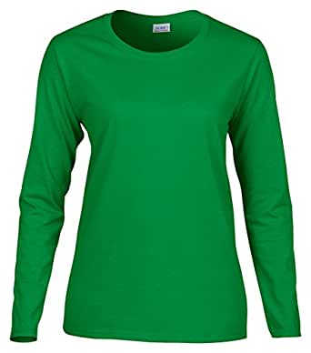 Gildan Women's Long Sleeve Crewneck Jersey T-Shirt, Irish