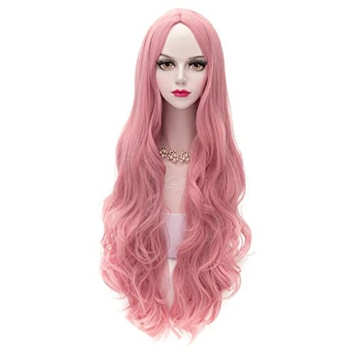 12 Colors 31 Inches/80CM Wavy Curly Fashion Cosplay Lolita Women Girls Wig + Wig Cap (Milkshake Pink) ()