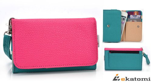 samsung-dart-t499-mobile-phone-universal-case-wrist-let-clutch-womens-metro-wallet-green-hot-pink-bo