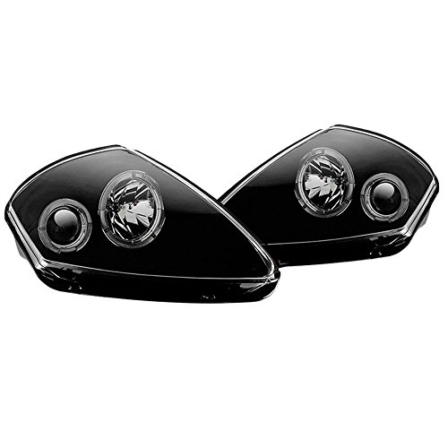Winjet WJ10-0215-04 Projector Halo Headlights for 2000-2005 Mitsubishi Eclipse - Black/Clear