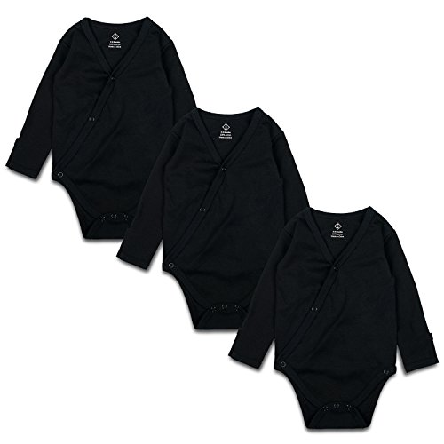 OPAWO Black Unisex Baby Long-Sleeve Kimono Bodysuits with Mitten Cuffs 3 Pack 3-6 - Percent 100 Mitten