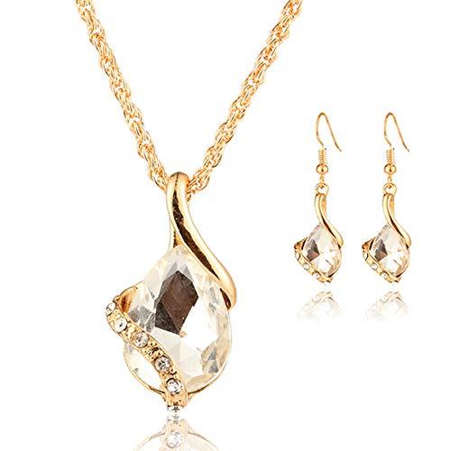 Yanvan Jewelry Set, Elegant Earrings Pendant Necklace Women Wedding Necklace and Earrings Set for Bridal or Bridesmaids (Set Wedding Platinum Jewelry)