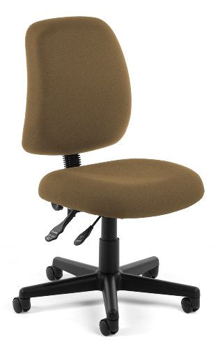 Taupe Armless Chair (OFM Posture Series Armless Mid Back Task Chair - Stain Resistant Fabric Swivel Chair, Taupe (118-2))