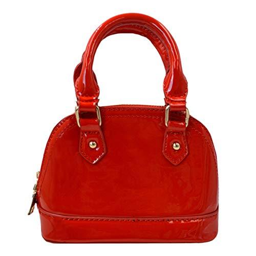 - Sun Kea Patent Leather Top Handle Tote Bag Mini Zip Around Dome Shoulder Bag Shell Shape Cross Body Handbag Purse Satchel (Red)