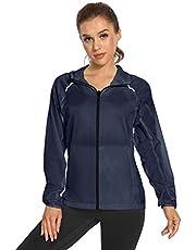 Women's UPF 50 Protection Jacket Lightweight Hoodie Zip Packable Running Jacket